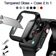 360 pełna ochrona ekranu ramka bumpera matowy twardy futerał do Apple watch 6 SE 5 4 3 2 1 pokrowiec ze szkła hartowanego do iwatch 4 5 tanie tanio Z tworzywa sztucznego CN (pochodzenie) Zegarek Przypadki For Apple watch 202588806