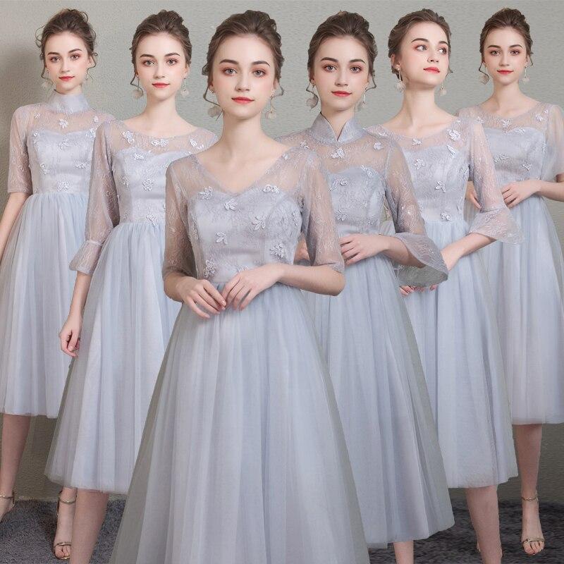 Gary Plus Size Tulle Bridesmaid Dresses Junior Wedding Guest Dress Tea-Length A-Line Short Party Dress Sister Elegant Sexy Prom