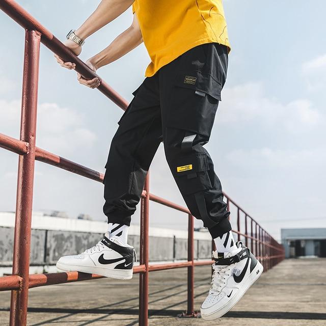 2020 nuevo Joggers de Hip Hop pantalones hombres pantalones Harem Multi-Bolsillo cintas Hombre Pantalones Streetwear pantalones de hombre informales S-5XL 2