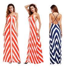 2019 New Dress Sexy Spaghetti Strap Sleeveless Dress Striped Cross Hip Slim Open Back European Dress Women Clothes