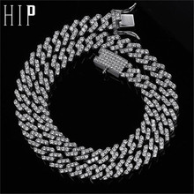 Hip Hop 10MM Full Iced Out Zircon Paved Rhinestones Miami Curb Cuban Chain Bling Rapper Necklaces For Men Jewelry