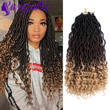 ZYR Long Wavy Faux Locs Crochet Hair with Curly Ends 18inches 70g Synthetic Extension For African Women High Temperature Fiber(China)