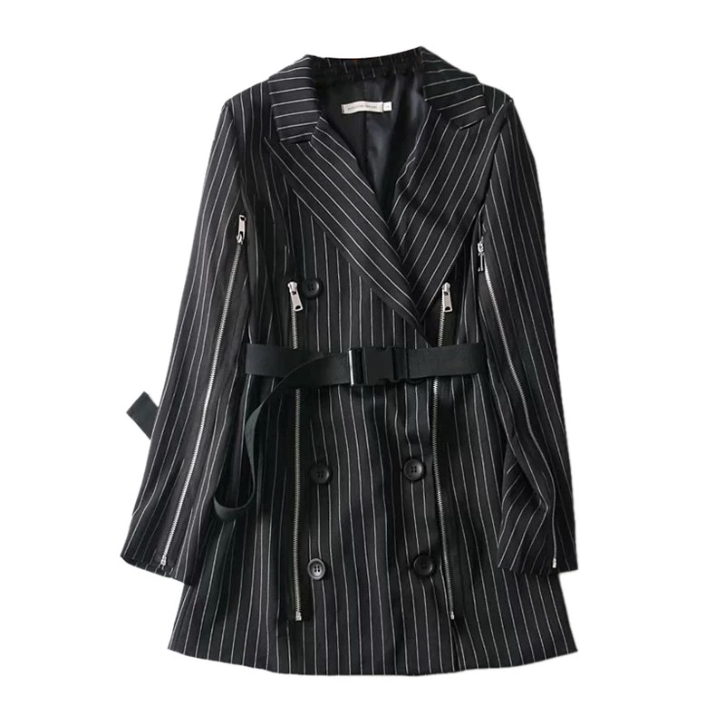 Women Pinstripe Blazer Striped Jacket Stripe Coat Womens Striped Lady Long Sleeve Women Black Blazer Office Wear New 2020 II50XZ