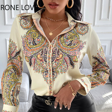 Женская атласная рубашка с длинным рукавом и принтом пейсли, весенние топы и блузки