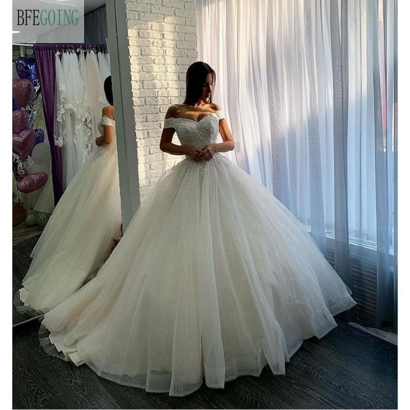 Ivory Organza Off The Shoulder V-Neck   Floor-Length Ball Gown Wedding Dress Chapel Train Custom Made