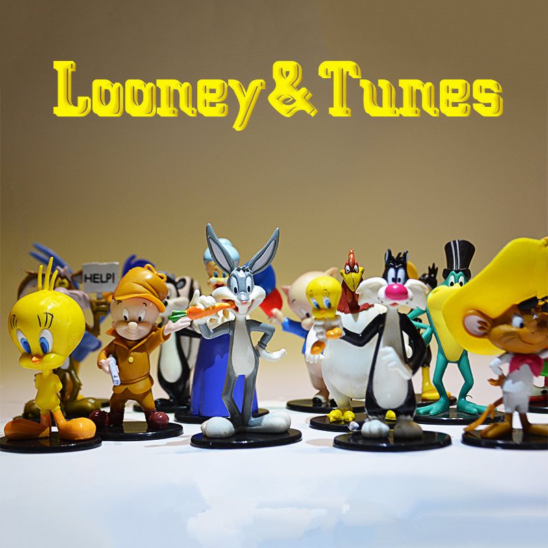16piece/lot  7-8cm Anime Catoon Looney Tunes Cute Rabbit And Sylvester Cat Cartoon Figure Toys Set Collection Toys