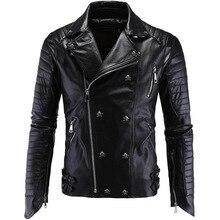Punk Men's Leather Jacket Motorcycle Leather Faux Fur Coat Men