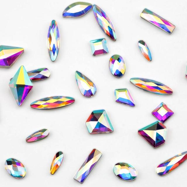 2220 Pcs Nail Decorations Gems Stones Set Multi Shaped Crystal AB Glass FlatBack Rhinestones For Nails Art 3D Craft 6