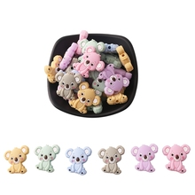 1pc Silicone Baby Teether Food Grade BPA Free Baby Koala Beads Teething Necklace Rodents DIY Pacifier Clip Baby Products Toys