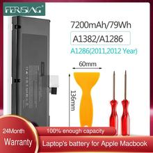 FERISING Original New A1382 Laptop Battery For MacBook Pro 15 inch A1286 Early 2011, Late 2011, Mid 2012, MC721LL/A MC723LL 79Wh