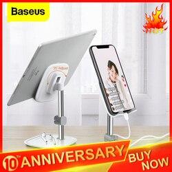 Soporte para teléfono móvil de escritorio Baseus para iPhone, soporte Universal ajustable de Metal para mesa de escritorio y tableta, soporte para iPad Pro
