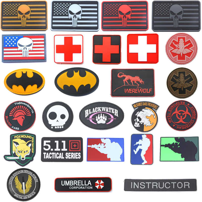 3D FLAG Patch Medical Rescue Eye Sniper Fox ร่ม World AIR FORCE Seal SPARTAN ทหารตรายุทธวิธี AIR GUN patch