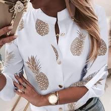 SHUJIN Pineapple Blouse Women's Shirt Ananas White Long Slee