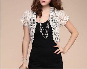 Image 3 - Boléro à manches courtes en dentelle, veste de mariée à manches courtes, veste dété élégante en dentelle abricot blanc noir