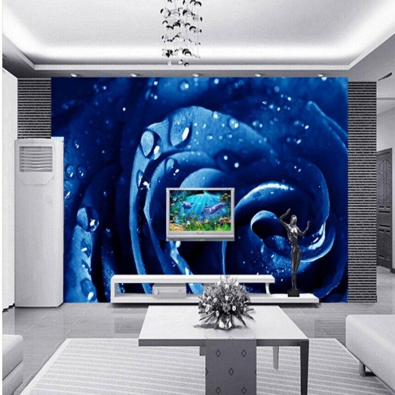 Drop Shipping Photo Wallpaper Custom High Definition Blue Rose Decorative Painting TV Backdrop  Hotel Bedroom Wallpaper