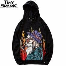 2019 Men Hip Hop Hoodie Sweatshirt Streetwear Harajuku Japanese Old Man Hoodie Pullover Fire Flame Sweat Shirt Autumn Cotton