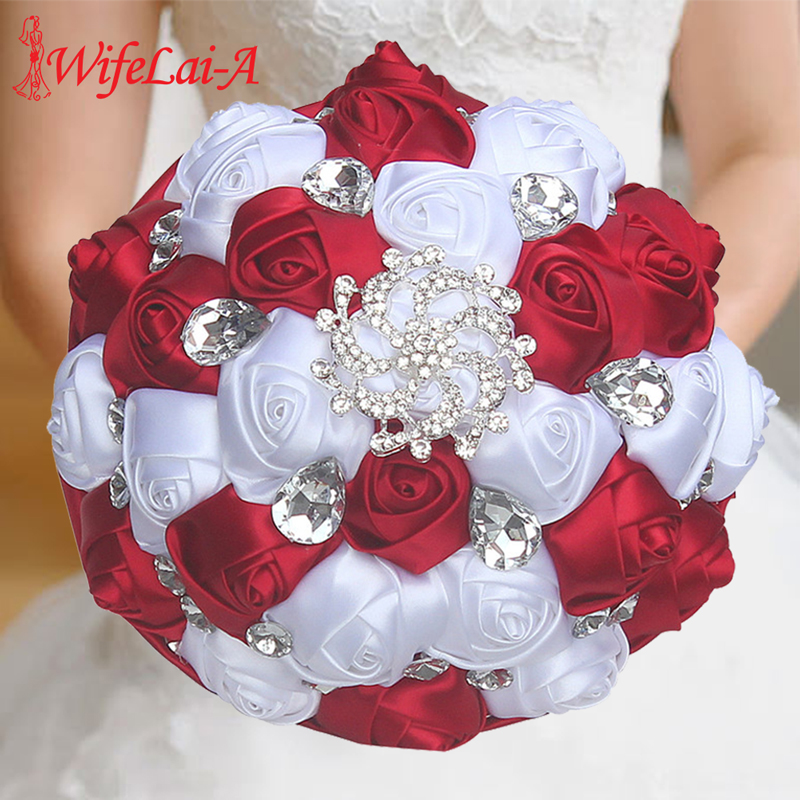 Burgundy White Silk Ribbon Rose Holding Flowers Artificial Foam Flowers Wedding Flowers Bridal Bouquets Bridesmaid Bouquet W291