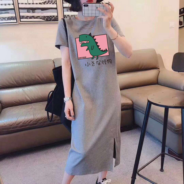 Korean Large Size Slim Dresses For Plump Girl Loose Mid-Length Summer Short Sleeve Dress For Student Young Robe Plus Size Casual 5