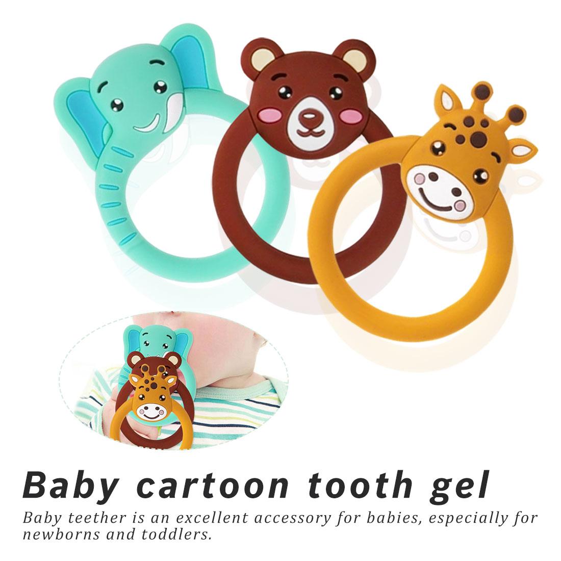Cartoon Teething Nursing Silicone BPA Free Necklace Toys Giraffe Elephant Baby Silicone Teether Pacifier
