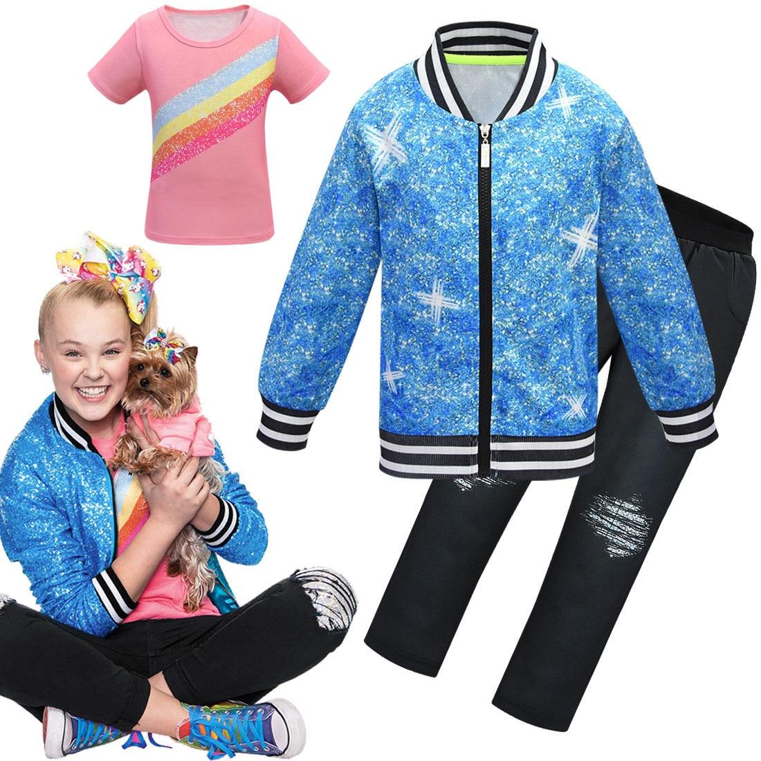 Girls Jojo Siwa Clothing Suit Autumn Baseball Uniform Coat T Shirt Pants 3 Pcs Sport Suits Kids Cartoon Clothes Girls Outfits