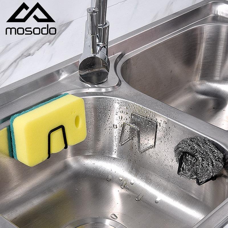 Mosodo Stainless Steel Sponges Holder Kitchen Sink Organizer Multifunction Sink Sponge Drain Rack Home Storage Holder Organizer
