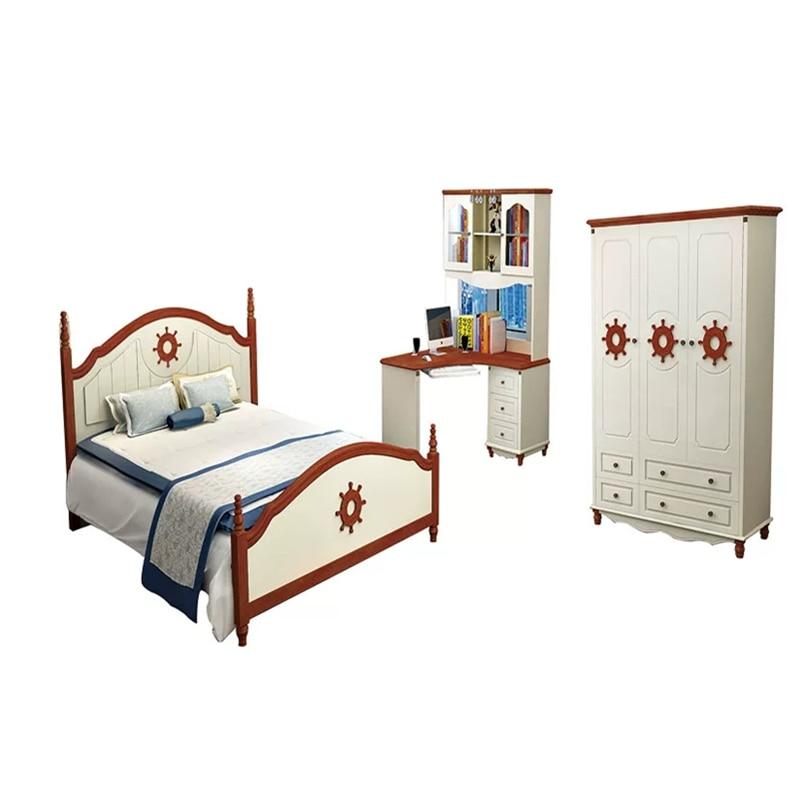 Children Bed Kids Bedroom Set With Wardrobe Night Table Desk Beds