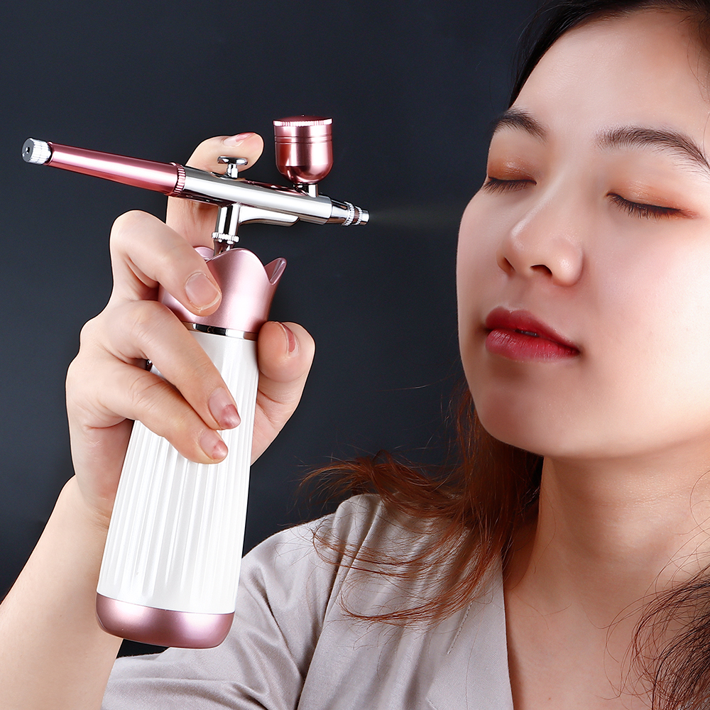 Dual Action 0.3mm Mini Airbrush With Compressor Hydration Oxygen Injection Airbrush Makeup Tool For Art Nail Paint Cake Tattoo