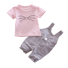 New Summer Baby Clothes Suit Children Boys Girls Cotton T Shirt Overalls 2Pcs/sets Toddler Casual Clothing Infant Kids Tracksuit 2017 new summer children clothing sets little pony t shirt tulle tutu skirt 2pcs suit kids casual sport suit girls clothes set