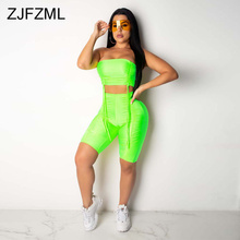 Pleated Drawstring Fitness Two Pieces Sets Women Summer Festival Clothes Backless Sleeveless Crop Top + Shorts Elastic Sweatsuit boxed pleated grommet drawstring shorts