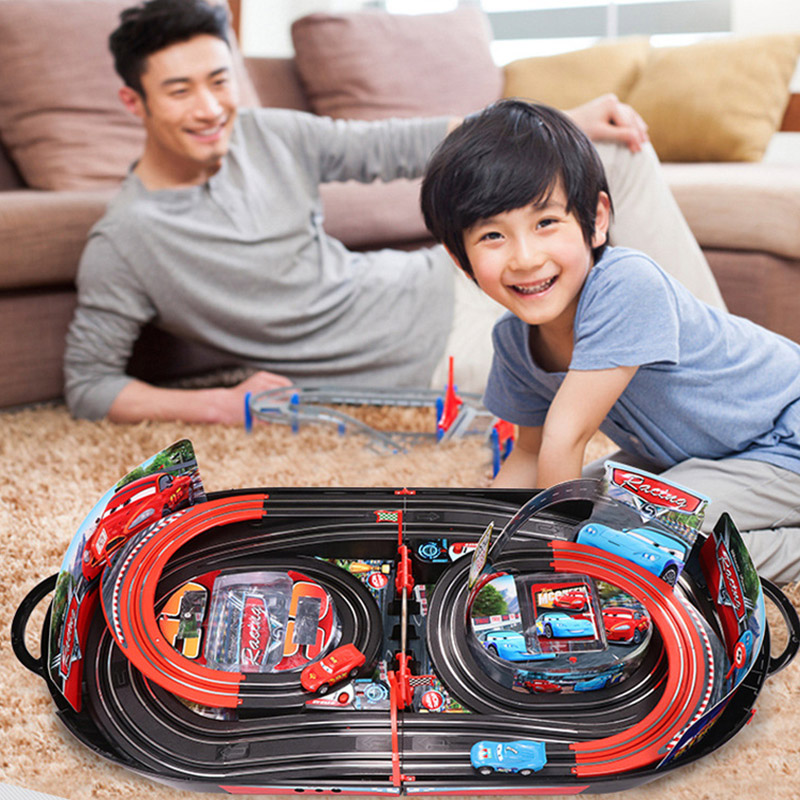 Disney Pixar Cars 2 3 Lightning McQueen Electric Slot Car Race Double Track Railway Educational Playset Children's Day Gift