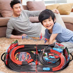 Disney Pixar Cars 2 3 Lightning McQueen Electric Slot Car Race Double Track Railway Educational Playset Children's Day Gift