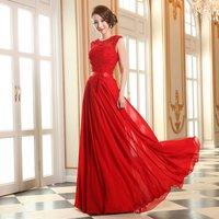 Ensotek Hot Sale Pink/Red Plus Size Appliques Beading Chiffon Long Evening Dresses Formal Party Prom Gowns Robes De Soiree 2019