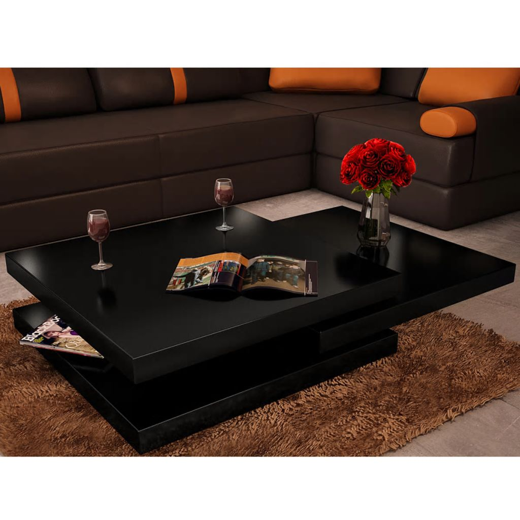VidaXL Coffee Table 3 Tiers High Gloss Black