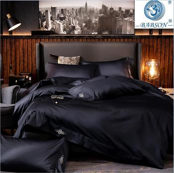 Black egyptian cotton Bedding sets Queen King size Embroidery Bed Duvet cover Bed sheets/fitted sheet linen set hotel bed set 4pcs 600tc egyptian cotton soft duvet cover bed sheet set queen king size silky soft simple style embroidery hotel bedding set