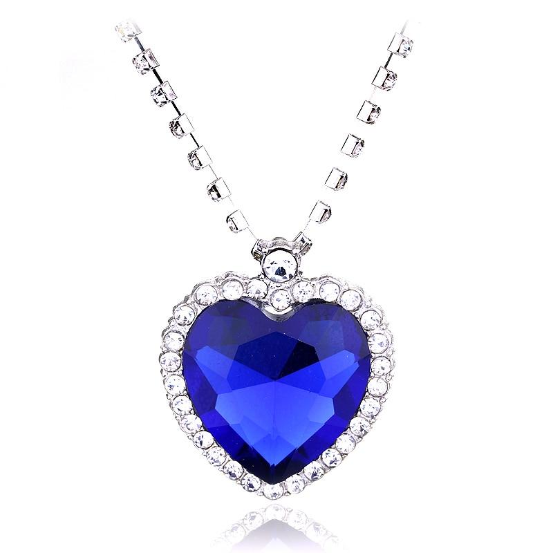 Titanic Ocean Heart Love Forever Necklace Heart Crown Crystal Charm Choker Pendant For Women Girls Valentine's Day Birthday Gift