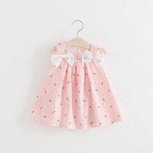 Summer Newborn Baby Girl Dress Sleeveless Print Bow Infantile Baby Dress Birthday Party Princess Dress Girls Clothes infant baby clothes brand design sleeveless print bow dress 2016 summer girls baby clothing cool cotton party princess dresses