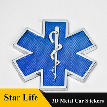 Star of Life Car Metal Badge Emblem Grill Auto Motor Blue Sticker Trunk Fender Automobile for AUDI BMW Mercedes VW Accessories metal 3d v6 engine displacement car grill sticker badge v8 emblem stickers auto decal chrome car styling for toyato audi bmw vw