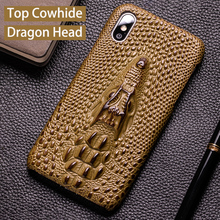Luxury Phone Case For iPhone 7 8 11 Pro Cowhide Dragon head Back Cover iphone 6 6s Xr Xs Max 6p 6sp 7p 8p