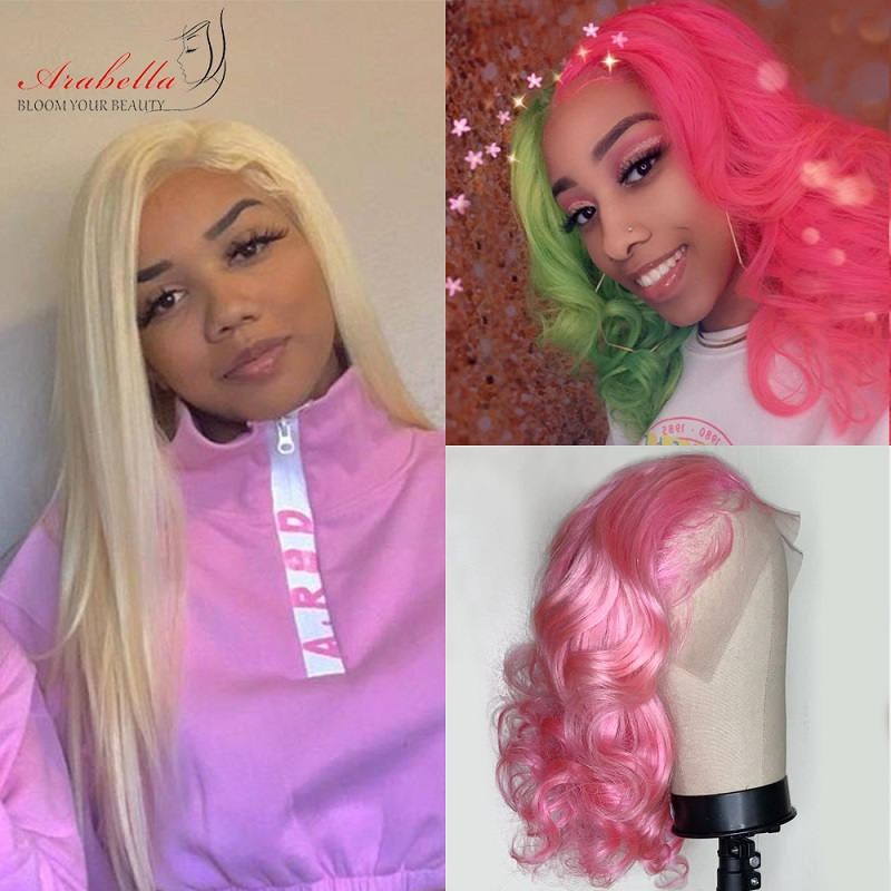 Blonde Lace Front Wig Brazilian 13x4 Straight Remy Hair Wigs Arabella Pre Plukced Lace Front Wig 180% Density 613 Lace Front Wig