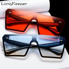 LongKeeper Vintage Ovesized Sunglasses Women Shades Luxury Brand Rimless Square Sun Glasses One piece For Men Black Dames UV400