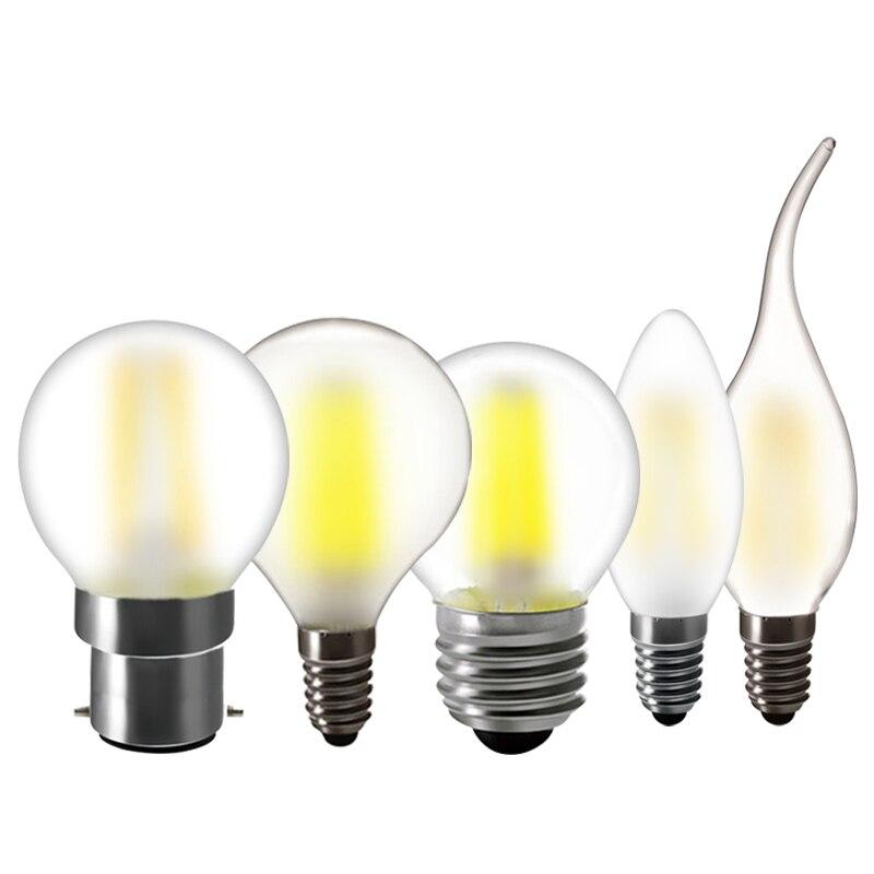 Lâmpada led e14 c35 fosco vela lâmpada chama e27 g45 b22 branco quente 220v lâmpadas para casa lâmpada de vidro do vintage para lustre