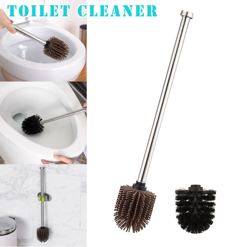 Toilet Brush Silicone Heads Stainless Steel Handles Replacement Cleaning Tool OCT998|Cleaning Brushes| |  - title=