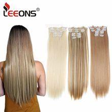 Leeons 16 colores 16 clips largo recto sintético Clips de extensiones de cabello en Alta Temperatura de fibra negro marrón peluca