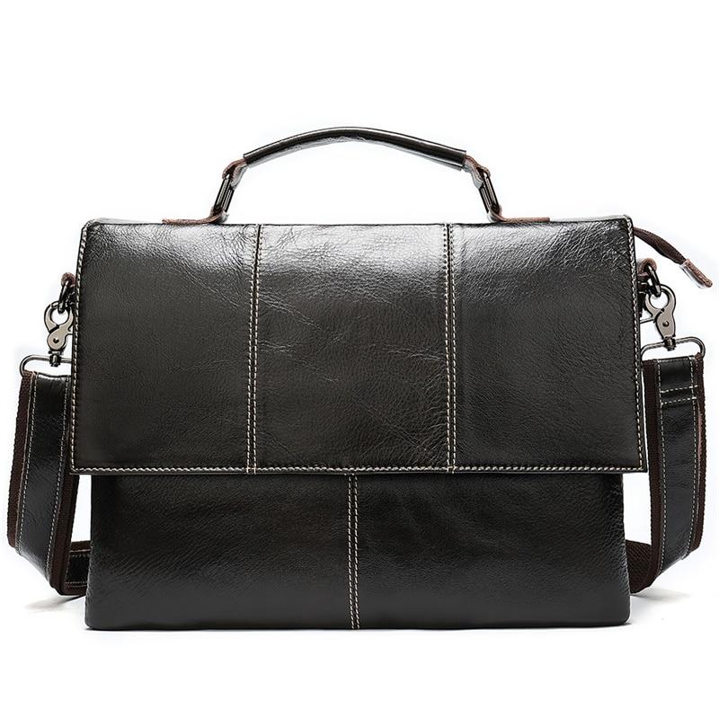 Retro Men's Briefcase Business Shoulder Bag Genuine Leather Handbag Bags Leather Laptop Messenger Bags Men's Travel Bags 7909