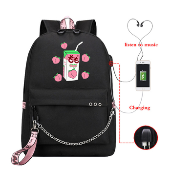 USB Women Backpack Kawaii Backpacks Travel Backpack Bag Women's Fashion Canvas School Bags Peach Juice Funny Printed Backbag