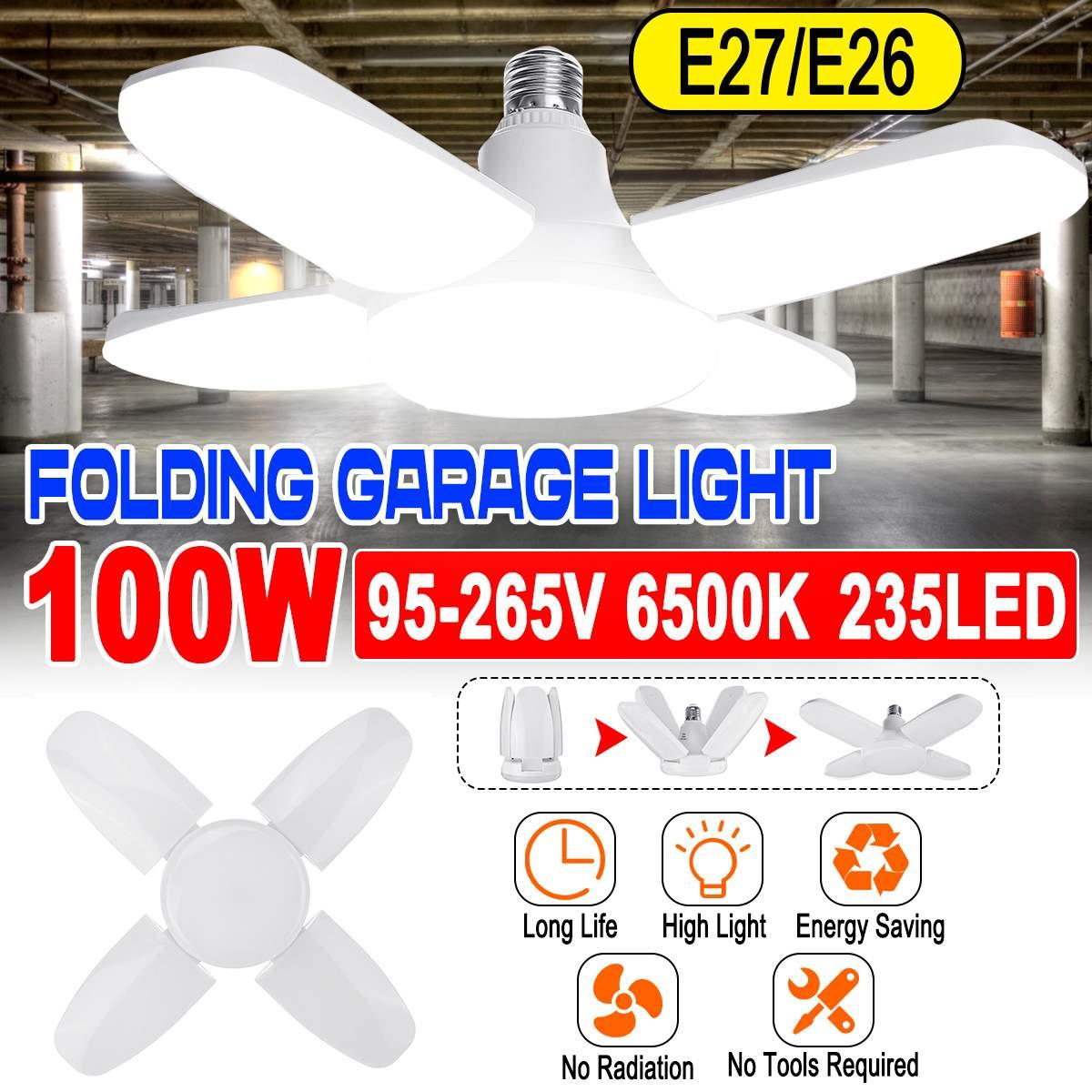 100W 6500K Foldable Led Garage Light E26/E27 235 Beads Lamps Industrial Deformation Lamp Flying Saucer Four Leaves Bulb