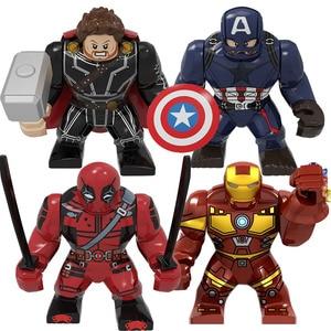 BIG Size Character Captain America Thor Iron Man Dr Strange Loki Hulk Thor Thanos Dealpool Model Figure Blocks Toys For Children(China)