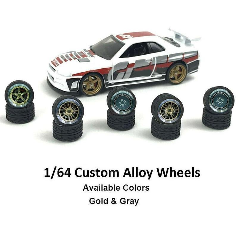 4pcs/set Custom Alloy Wheels Set 2 Axles 4 End Caps For 1/64 DIY Vehicle Car Model Vintage Tire Modified Alloy Car Refit Wheels