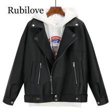 Rubilove 2019 New Arrival Women Autumn Winter Leather Jacket Oversized Boyfriend Korean Style Female Faux Coat Outwear Black