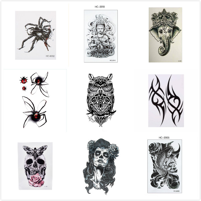 10 Styles Big Temporary Fake Tattoos Stickers Black Death Skull Tattoos Large Arm Should Temporary Tattoo For Men Women